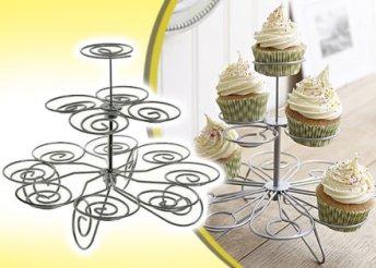 Tökéletes kellék mennyei édességekhez: stílusos, 3 szintes muffin tartó, 13 süteménynek