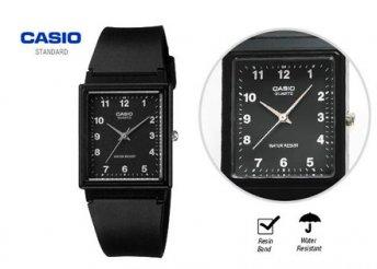 Szögletes, analóg Casio karóra fekete vagy fehér hátlappal, gumi szíjjal, hölgyeknek és uraknak