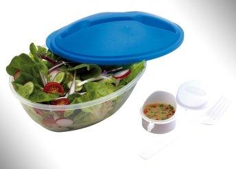 Salátás doboz villával és öntettartóval