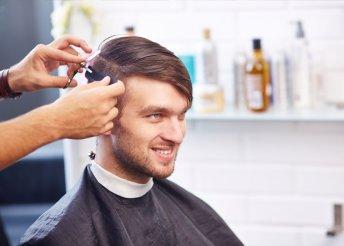 Férfi hajvágás mosással, fejmasszázzsal