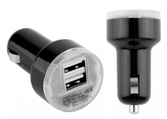 Dual USB szivargyújtós autós töltő