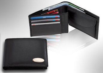 Valódi bőr, férfi pénztárca becsúsztatós zsebekkel a belsejében fekete színben
