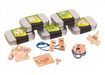 Ördöglakat, türelemjáték fém dobozban 5 féle variációban