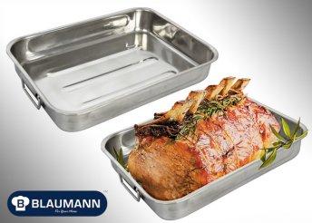 Blaumann magas falú rozsdamentes, 37 cm-es króm sütő tepsi