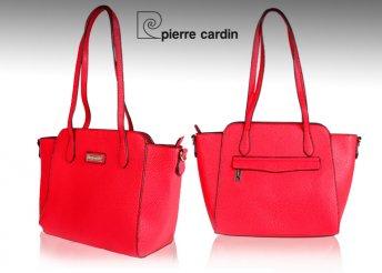 Pierre Cardin női válltáska piros színben, levehető vállpánttal, több belső és külső zsebbel