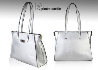 Pierre Cardin márkájú, márkajelzéssel díszített, divatos, műbőr női válltáska, levehető pánttal kétféle színbe