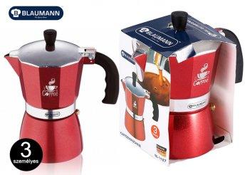 Trendi piros színű alumínium kávéfőző, szilikonos fogókkal két méretben