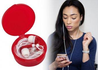 Fülhallgató ötféle trendi színben jack dugóval, színben hozzáilló tároló dobozban