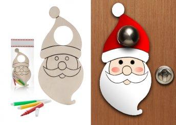 Ajtókilincsre akasztható, fából készült, színezhető karácsonyi figurás tábla 3 színes filctollal