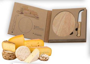 Sajt szett, kerek fa vágódeszkával, és rozsdamentes acél sajtkéssel