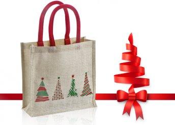 Natúr színű, juta anyagból készült táska karácsonyi motívummal és erős fülekkel