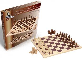 2 az 1-ben fából készült sakk és dámajáték