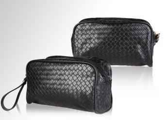 Stílusos, dizájnos kivitelű, fekete, eco-bőr kozmetikai táska