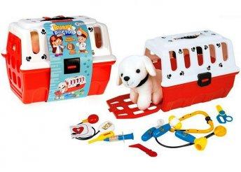 Kisállathordozó és állatorvosi készlet plüss kutyussal