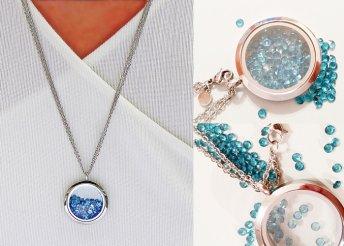 Egyedi ezüst nyaklánc nyitható medál Swarovski kristályokkal