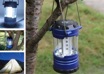 Fémfogantyús, 18 LED-es lámpa kempingezéshez