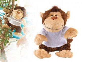 Kedves, vidám, puha bundás plüss majom pólóban gyerekeknek