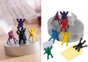Irodai csipesz szett mágneses papírnehezékkel és 8 különböző színű fém csipesszel
