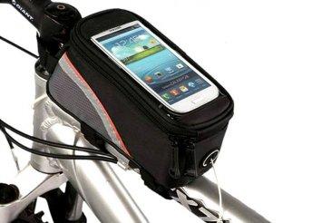 Vázra szerelhető kerékpár táska, cseppálló telefontartóval