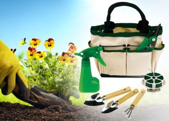 7 részes kerti szett megerősített fogantyújú vászon táskában