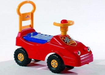 Nagy méretű, műanyag, lábbal hajtható bébi taxi dudával