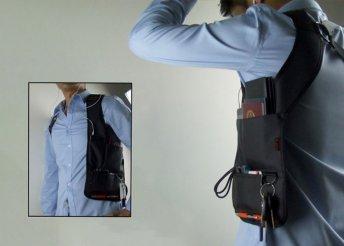 Praktikus, vállra, hátra rögzíthető rejtett táska