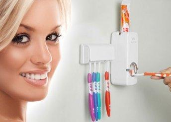 Automata fogpaszta adagoló, fehér színben, 5 db-os fogkefetartóval