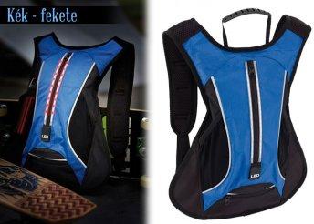 Sport hátizsák fényvisszaverő csíkokkal, párnázott vállpánttal és háttámlával, rugalmas mellkasi hevederrel