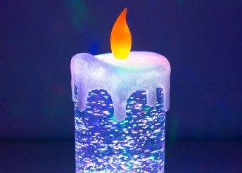 Homania többszínű, mozgó folyadékkal és csillámmal töltött LED gyertya