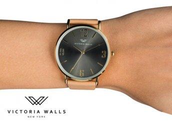 Victoria Walls női karóra fekete számlappal többféle színben kapható bőr szíjjal