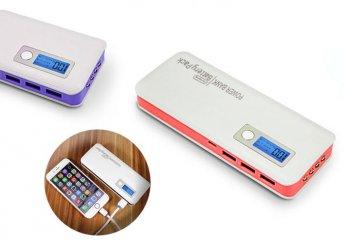 6000 mAh teljesítményű külső akkumulátor LCD kijelzővel és 3 USB porttal