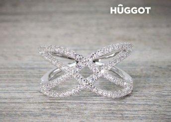 Diadem Hûggot 925 sterling ezüst gyűrű cirkóniakövekkel