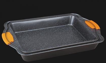2 db-os márvány bevonatú hosszúkás, mély sütőtepsi levehető szilikon fogóval