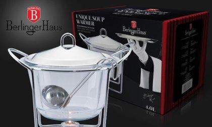 Leves melegen tartó rozsdamentes acélból és edzett üvegből, 4 literes kapacitással