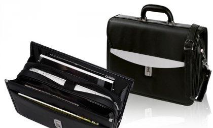 Bőrhatású, elegáns irattartó táska kombinációs zárral, mobiltelefontartóval, fogantyúval, vállpánttal