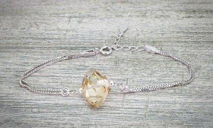 Stone Hûggot 925 sterling ezüst karkötő Swarovski® kristályokkal (18 cm)