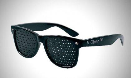 Raszter/szűk-lyukú látásjavító, szemtréner szemüveg, fekete kerettel