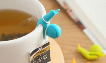 Csigákat megformáló teafilter tartók és pohárjelölők