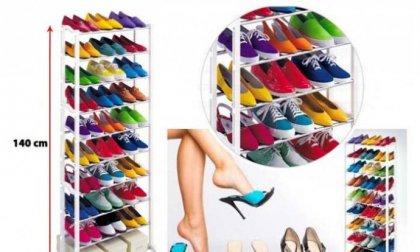 10 szintes, egyszerűen összeszerelhető és könnyen mozgatható cipőtartó állvány 30 pár cipőnek